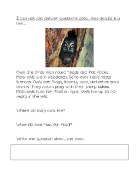 Owl close read ask and answer questions