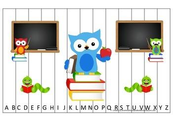 Owl themed Alphabet Sequence Puzzle.  Preschool Alphabet l