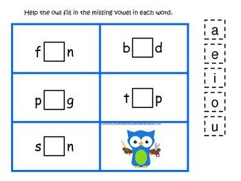 Owl themed CVC #1 preschool homeschool vowel activity.  Da