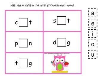 Owl themed CVC #3 preschool homeschool vowel activity.  Da