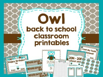 Owl themed back to school classroom printables