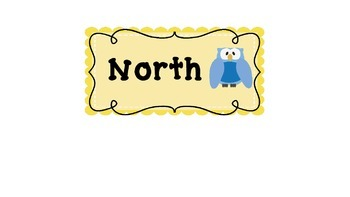 Owl themed cardinal direction labels