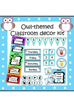 Owl-themed classroom decoration set (with editable elements)