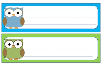 Owl themed desk name plates