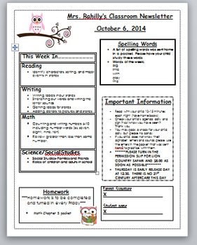 Owl themed editable weekly newsletter