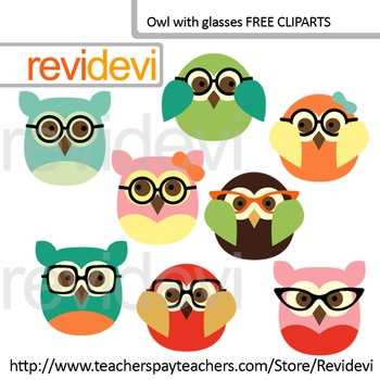 Owl with glasses clip art, set of 4 (free clip art)