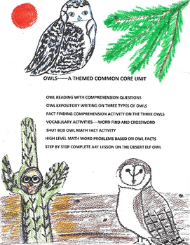 Owls: A common core unit inclucing language arts, math and
