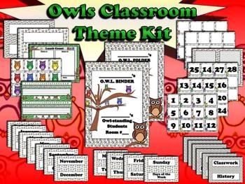 "Owls Classroom Theme Kit - ""Owl""-standing Students - King Virtue"