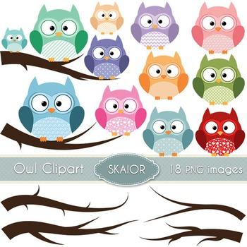 Owls Clipart Branches Clipart Digital Birds Trees Scrapboo