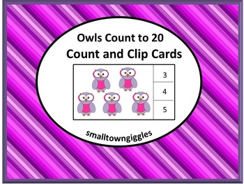 Task Cards Count and Clip Cards Counting Owls 1 to 20 Math Center