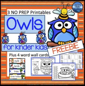 Owls Language Math Activities Free
