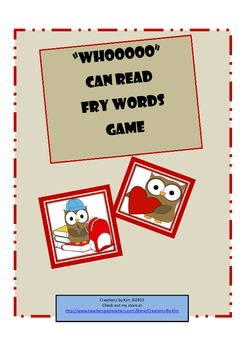 Owls, Fry WORDS, first  100 fry words