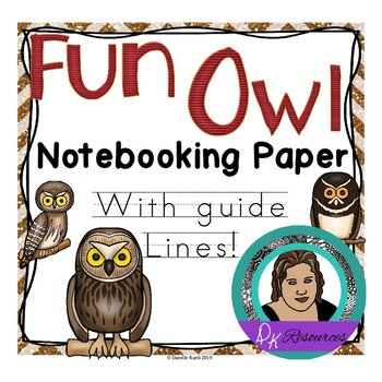 Owls Notebooking Paper - Primary Guide Lines Notebook Pape