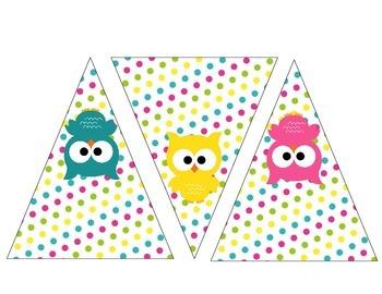 Owls Pennant Banner Classroom Decoration