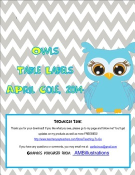Owls Table Labels