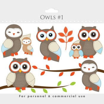 Owls clipart - whimsical owls, baby owls, birdies, branch,
