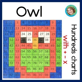 Owls hundreds charts with addition, subtraction and multip