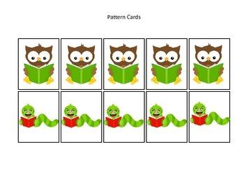 Owls themed Pattern Cards #2 preschool printable activity.