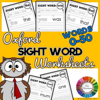 Oxford Sight Word Worksheets - Words 0-50