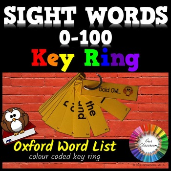 Sight Words 0-100 - Oxford Word List - KEY RING