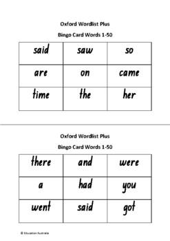 Oxford Wordlist Plus Bingo Set - Entire Set 1 - 400 Words