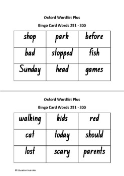 Oxford Wordlist Plus Bingo Set - Words 251 - 300 - Sight Words