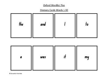 Oxford Wordlist Plus Flash Cards Set - Words 1 - 50 - Memo