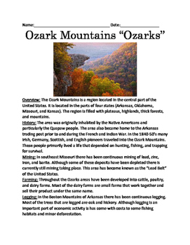 "Ozark Mountains ""Ozarks"" - lesson full history facts infor"