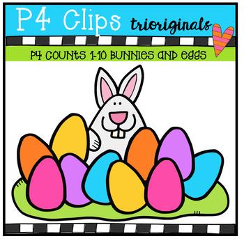 P4 COUNTS 1-10 Bunny and Eggs (P4 Clips Trioriginals Clip Art)