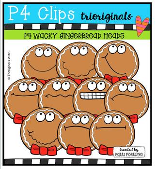 P4 WACKY Gingerbread Heads (P4 Clips Trioriginals Digital