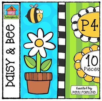 P410 Daisy & Bee {P4 Clips Trioriginals Digital Clip Art}