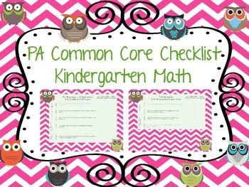 PA Common Core Checklist--Math Kindergarten {Owl Theme}