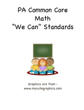 "PA Common Core Math ""We Can Standard Statements"" (3rd Grade)"