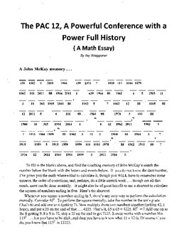 PAC 12 Conference History, Math Essay,Exponents,Powers,Ord