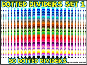 PAGE DIVIDERS ACCENTS- COLORED DOTS-SET 1- 50 DOTTED PAGE