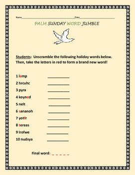 PALM SUNDAY WORD JUMBLE