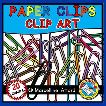 COLORFUL PAPER CLIPS CLIPART: SCHOOL SUPPLIES CLIPART: BAC