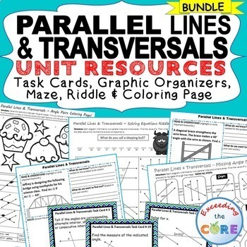 PARALLEL LINES AND TRANVERSAL BUNDLE - Task Cards, Graphic