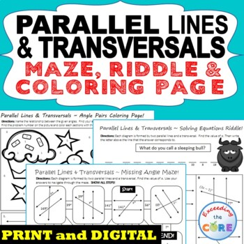PARALLEL LINES and TRANSVERSAL Maze, Riddle, Coloring Page
