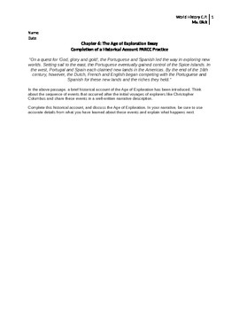 PARCC Sample Essay - Age of Exploration