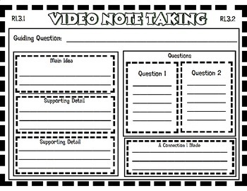 PARCC Video Note Taking Graphic Organizer