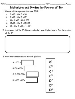PARCC-like Assessment  Multiply and Divide by Powers of Ten
