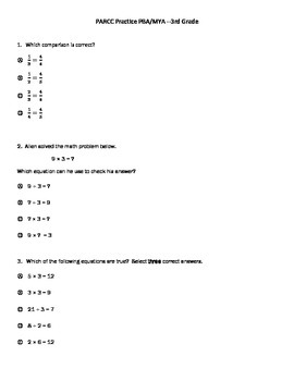 PARCC practice test for 3rd Grade Math PBA/MYA
