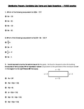 PARCC style questions-Distributive Property, Combine Like