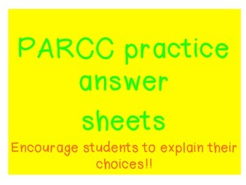 PARCC Student template answer sheets
