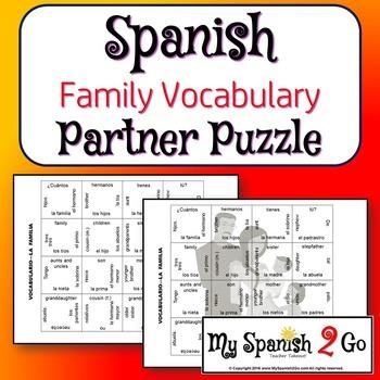 PARTNER PUZZLES: Family Vocabulary