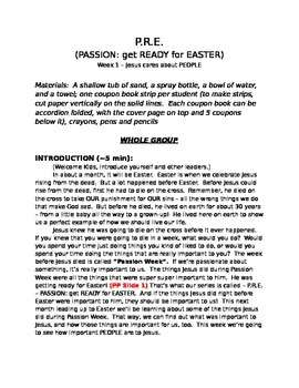 PASSION: gettting READY for EASTER (P.R.E.), 4 week Sunday