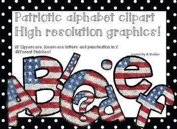 PATRIOTIC ALPHABET and PUNCTUATION CLIP ART