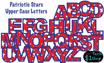 PATRIOTIC STAR * Upper Case Letters * Bulletin Board * Red
