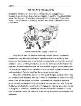 Tall Tale: PAUL BUNYAN Story w/ 6 Note-Taking Frames - Rea